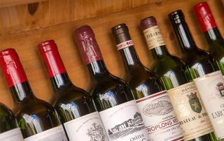 Multiple Wine Bottles Lined Up